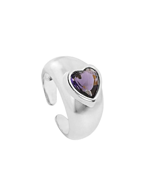 Silver [size 15 adjustable] 925 Sterling Silver Cubic Zirconia Heart Vintage Band Ring